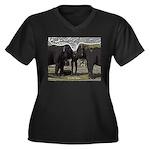 Elephant Eye Women's Plus Size V-Neck Dark T-Shirt