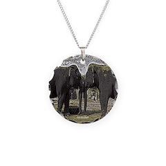 Elephant Eyes Woodcut Necklace