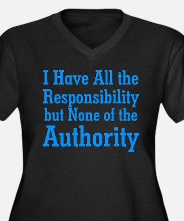 No Authority Women's Plus Size V-Neck Dark T-Shirt
