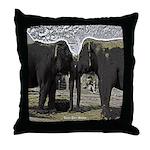 Elephant Eyes Woodcut Throw Pillow