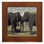 Elephant Eyes Woodcut Framed Tile
