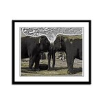 Elephant Eyes Woodcut Framed Panel Print
