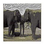 Elephant Eyes Woodcut Tile Coaster