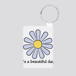 Blue Daisy - Beautiful Day Aluminum Photo Keychain