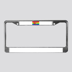 LOVE TACOS gay rainbow art License Plate Frame