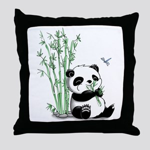 Panda Eating Bamboo Throw Pillow