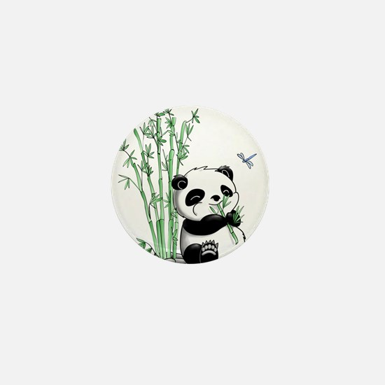 Panda Eating Bamboo Mini Button
