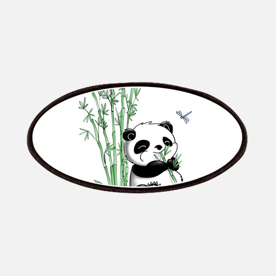 Panda Eating Bamboo Patches