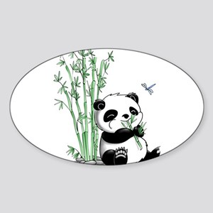 Panda Eating Bamboo Sticker (Oval)
