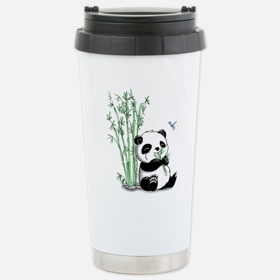 Panda Eating Bamboo Stainless Steel Travel Mug