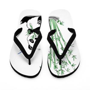 e2df73f0cc278 Panda Eating Bamboo Flip Flops - CafePress