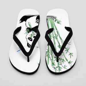 c17aa63ce8fc Panda Eating Bamboo Sketch Flip Flops - CafePress