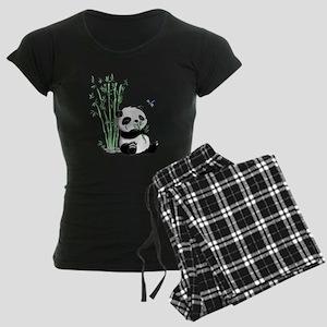 Panda Eating Bamboo Women's Dark Pajamas
