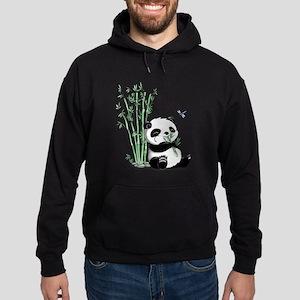 Panda Eating Bamboo Hoodie (dark)