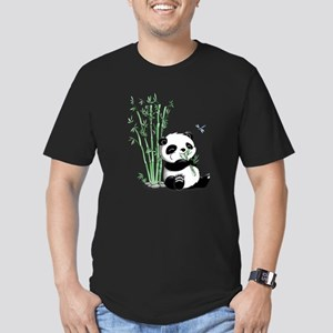 Panda Eating Bamboo Men's Fitted T-Shirt (dark)