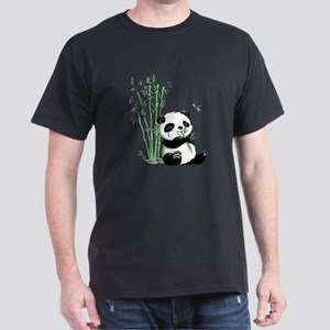 Panda Eating Bamboo Dark T-Shirt
