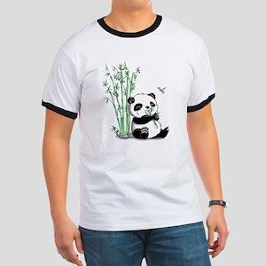 Panda Eating Bamboo Ringer T