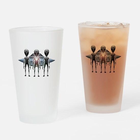 Aliens Landing Drinking Glass