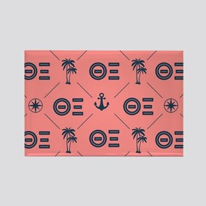 Theta Xi Coral Pattern Rectangle Magnet