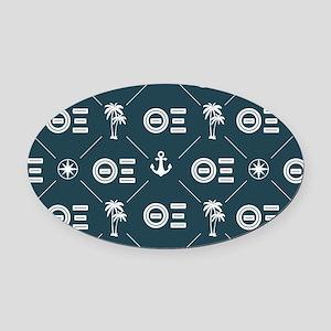 Theta Xi Blue Pattern Oval Car Magnet