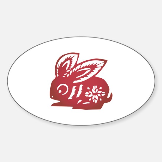 Rabbit Zodiac Sticker (Oval)