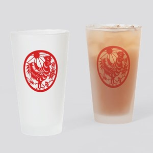 Rooster Zodiac Drinking Glass