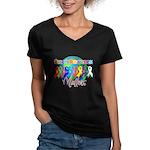 World Cancer Awareness Women's V-Neck Dark T-Shirt