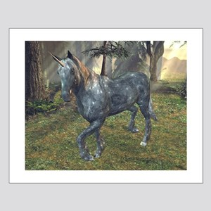 Moonlight Unicorn In Forest Small Poster