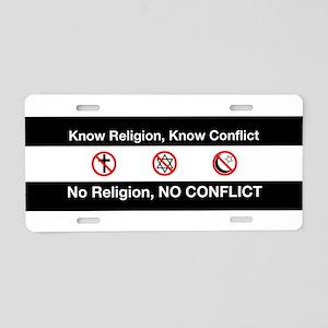 No Religion, No Conflict Aluminum License Plate