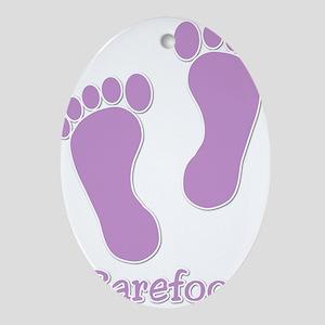 Barefoot Purple - Foot Prints Ornament (Oval)