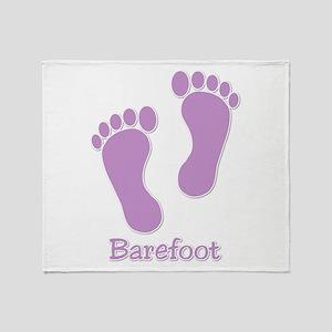 Barefoot Purple - Foot Prints Throw Blanket