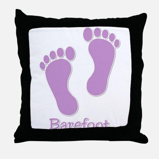 Barefoot Purple - Foot Prints Throw Pillow