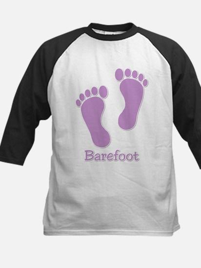 Barefoot Purple - Foot Prints Kids Baseball Jersey