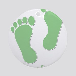 Barefoot Green - Foot Prints Ornament (Round)