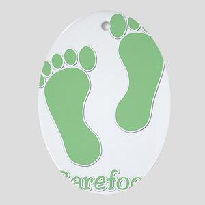 Barefoot Green - Foot Prints Ornament (Oval)