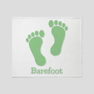 Barefoot Green - Foot Prints Throw Blanket