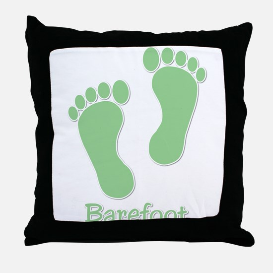 Barefoot Green - Foot Prints Throw Pillow