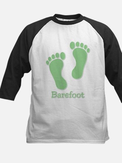 Barefoot Green - Foot Prints Kids Baseball Jersey