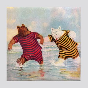 Roosevelt Bears on the Beach Tile Coaster