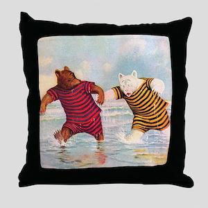 Roosevelt Bears on the Beach Throw Pillow