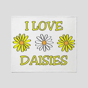 I Love Daisies - Daisy Flower Throw Blanket