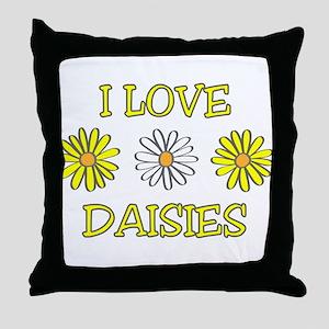 I Love Daisies - Daisy Flower Throw Pillow