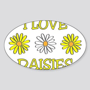 I Love Daisies - Daisy Flower Sticker (Oval)