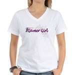 Gamer Girl -Gun & Swirls Women's V-Neck T-Shirt