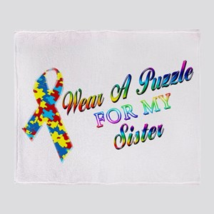 I Wear A Puzzle for my Sister Throw Blanket