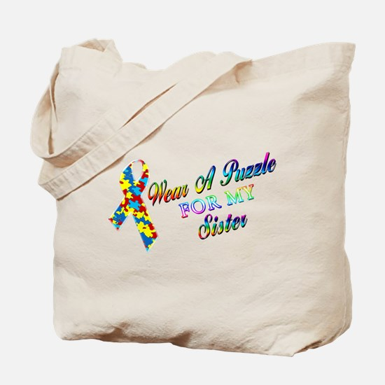 I Wear A Puzzle for my Sister Tote Bag