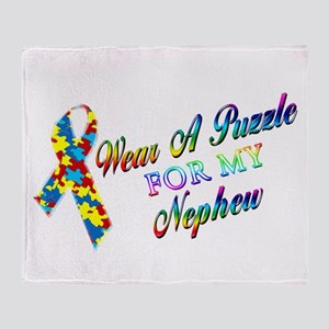 I Wear A Puzzle for my Nephew Throw Blanket