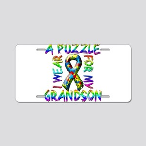 I Wear A Puzzle for my Grands Aluminum License Pla