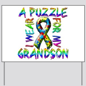 I Wear A Puzzle for my Grands Yard Sign