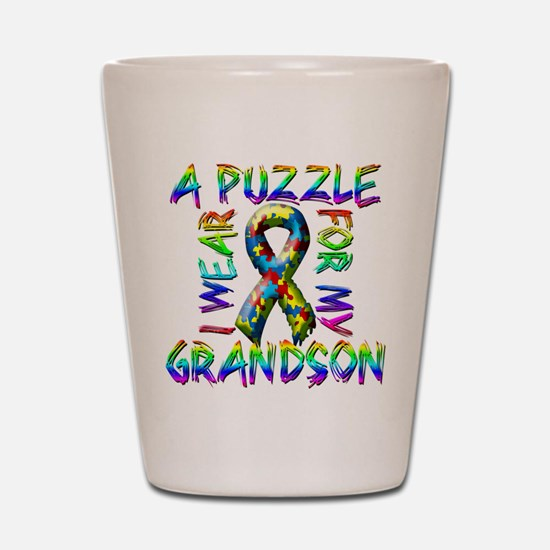 I Wear A Puzzle for my Grands Shot Glass